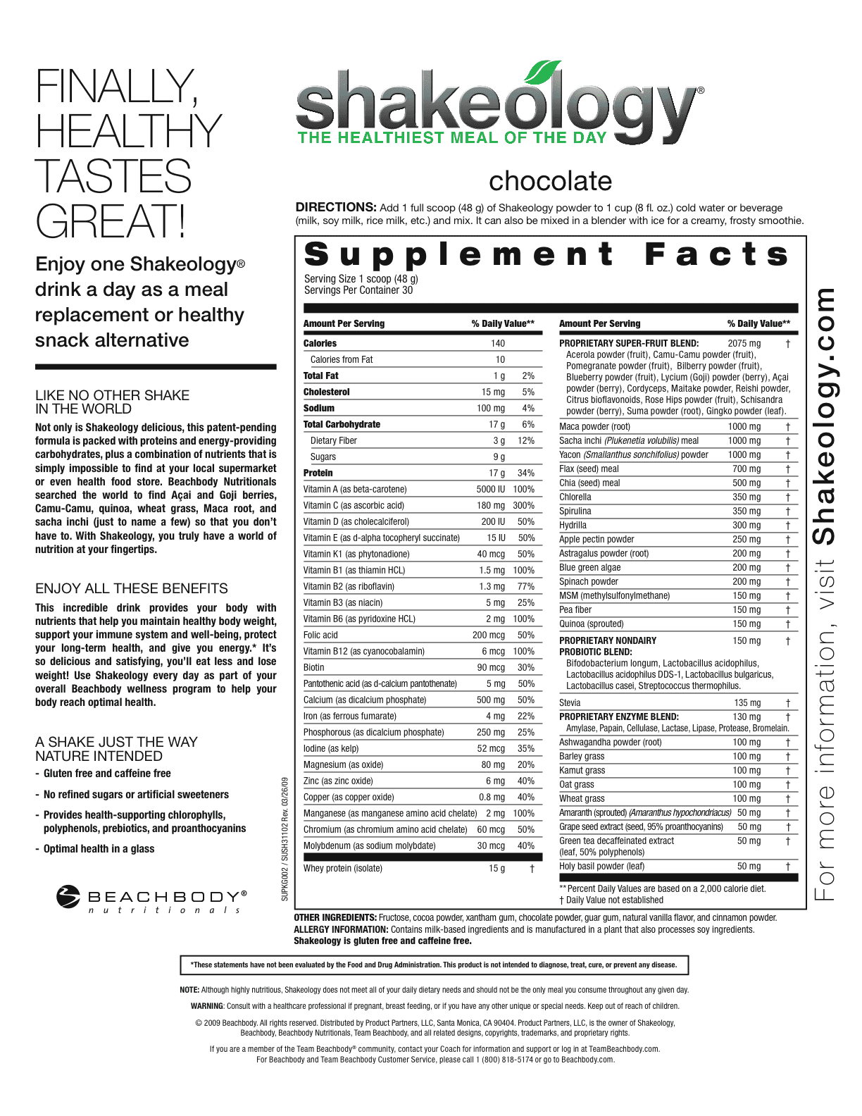 All Shakeology Ingredients