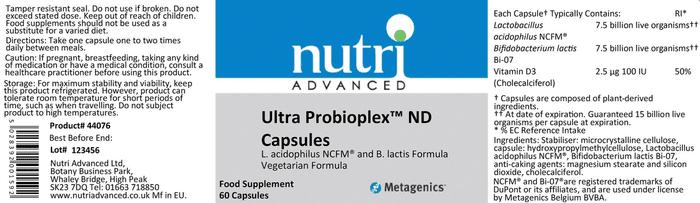 Ultra Probioplex ingredients
